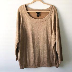 Lane Bryant Gold Metallic Knit Top Size 26